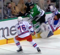 Watch Henrik Lundqvist get absolutely leveled by a dirty hit from Cody Eakin