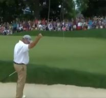 Watch: Weekley holes out for birdie from bunker